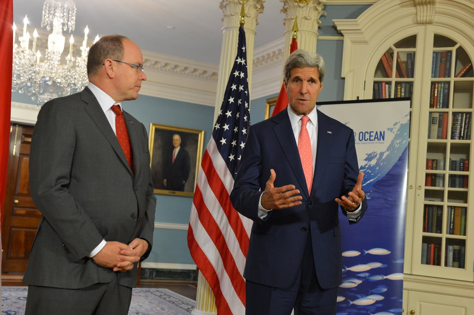 Secretary Kerry Delivers Remarks With Prince Albert II of Monaco Prior to Their Meeting