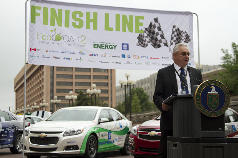 The Energy Department's Dr. Michael Knotek, Deputy Under Secretary for Science and Energy, speaks at the EcoCAR 2 Finish Line event in Washi