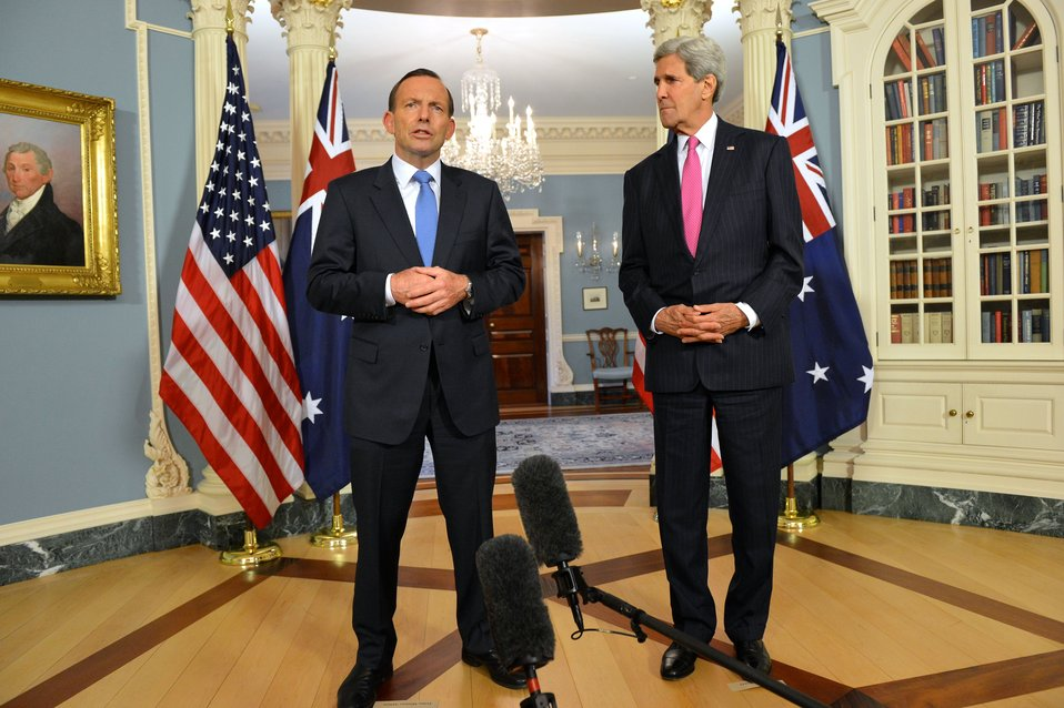 Secretary Kerry and Australian Prime Minister Abbott Address Reporters