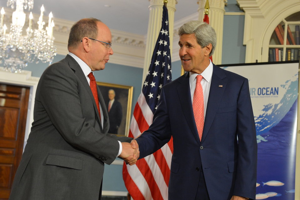 Secretary Kerry Shakes Hands With Prince Albert II of Monaco