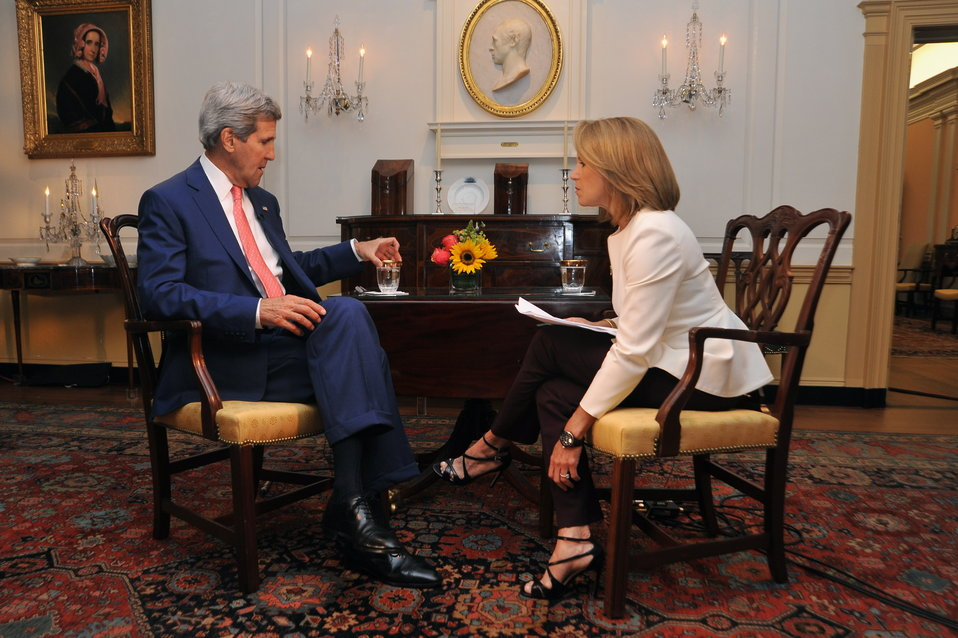 Yahoo! News Reporter Katie Couric Interviews Secretary Kerry