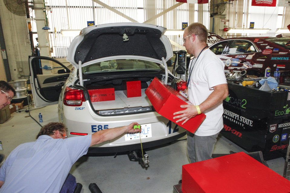 EcoCAR 2 challenges university students to also think about a vehicle's performance, safety and consumer acceptance, and cargo space is