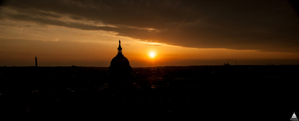 Sunset over the Capitol and Washington Monument May 2014