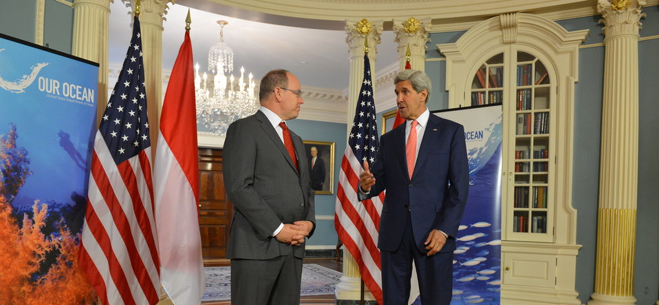 Secretary Kerry Holds Discussion With Prince Albert II of Monaco Prior to Their Meeting
