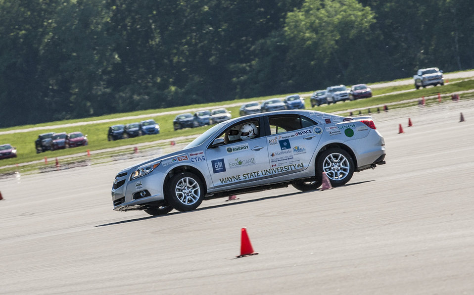 GM professional drivers pushed the teams' vehicles to the limits to measure the cars' performance in the Autocross Event (a key pa