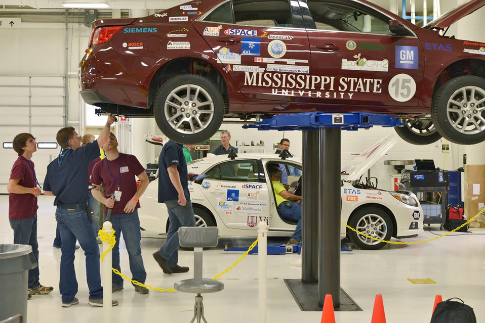 The team from Mississippi State University goes through a safety and tech inspection on their car at the Yuma Proving Grounds in Arizona. |