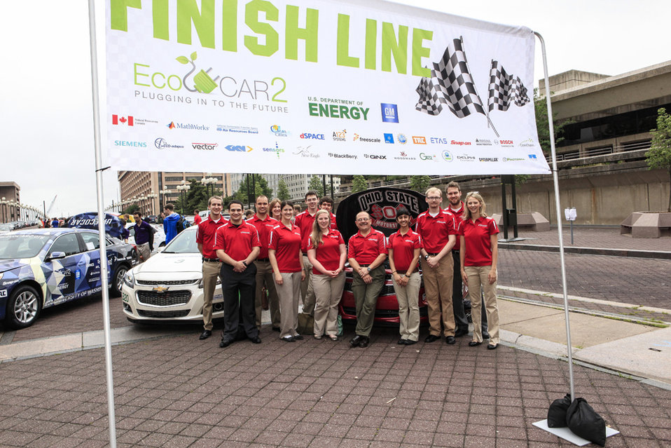 The team from the Ohio State University took home the top honors in the Energy Department's EcoCAR 2 competition for its plug-in hybrid elec