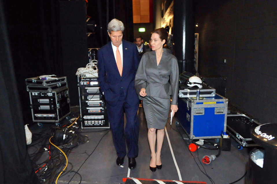 Secretary Kerry Chats With Actress Jolie Following Sexual Violence Summit in London