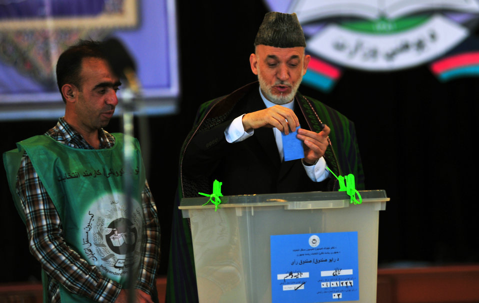 President Hamid Karzai, casts his vote in Kabul.