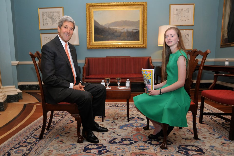 Secretary Kerry Poses With National Geographic Kids Reporter Moore
