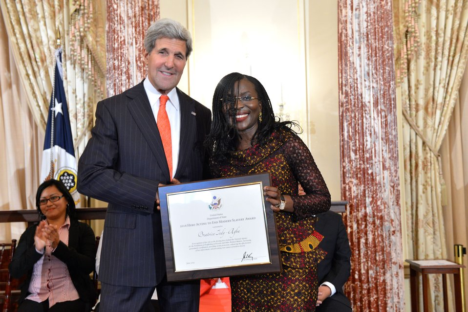Secretary Kerry With TIP Hero Beatrice Jedy-Agba of Nigeria