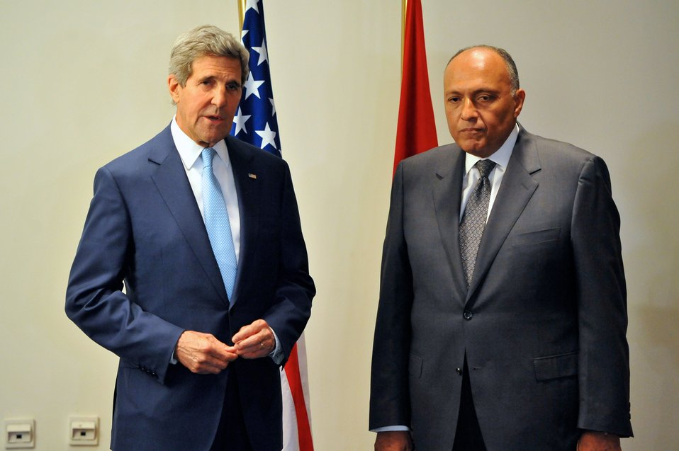 Secretary Kerry Meets With New Egyptian Foreign Minister Shoukry in Cairo