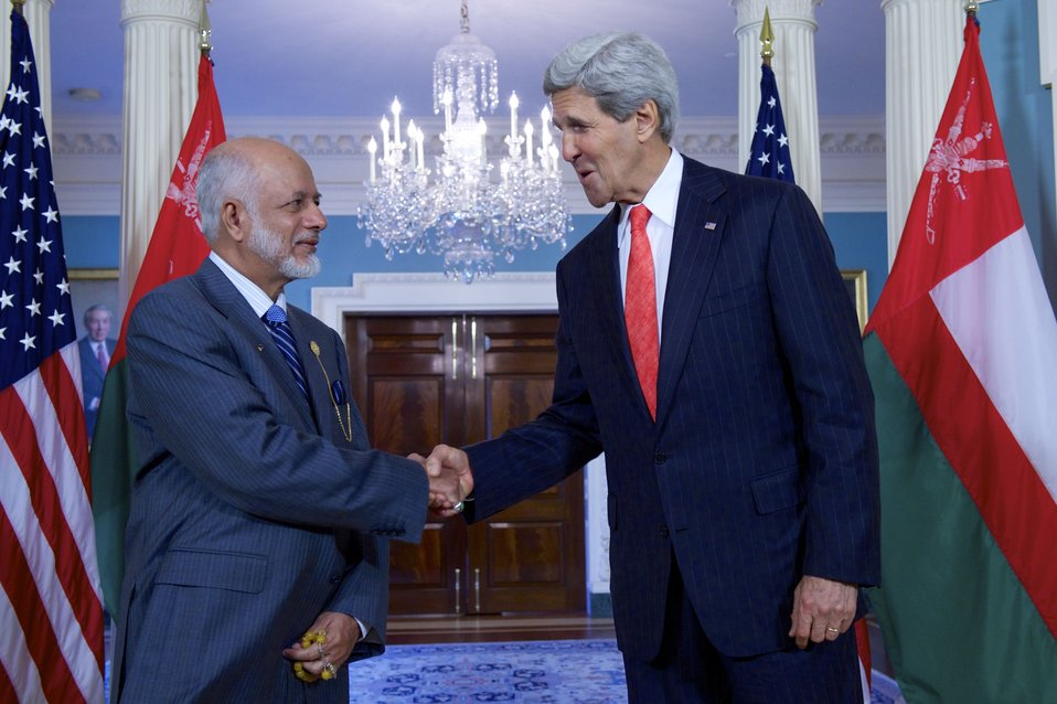 Secretary Kerry Shakes Hands With Omani Foreign Minister Yusuf bin Alawi bin Abdullah