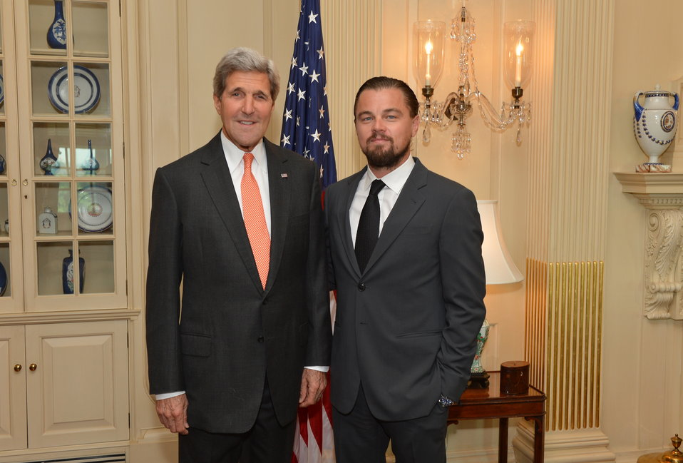 Secretary Kerry Poses for a Photo With Leonardo DiCaprio