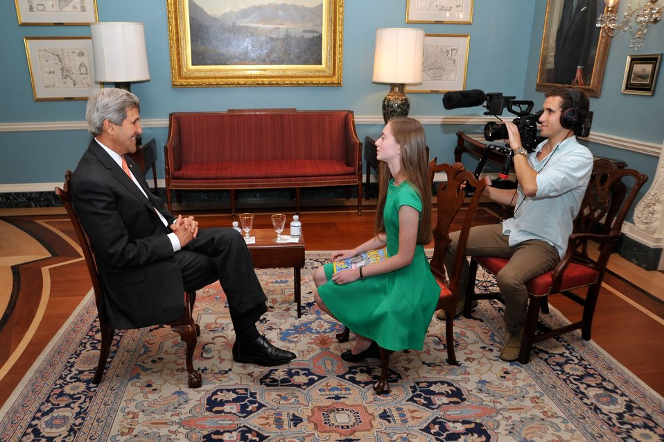 Secretary Kerry Participates in an 'Our Ocean' Conference Interview With National Geographic Kids Reporter Moore