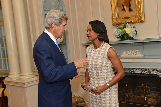 Secretary Kerry Holds Discussion With Former Secretary of State Condoleezza Rice at an Portrait Unveiling Ceremony in Honor of the Former Secretary