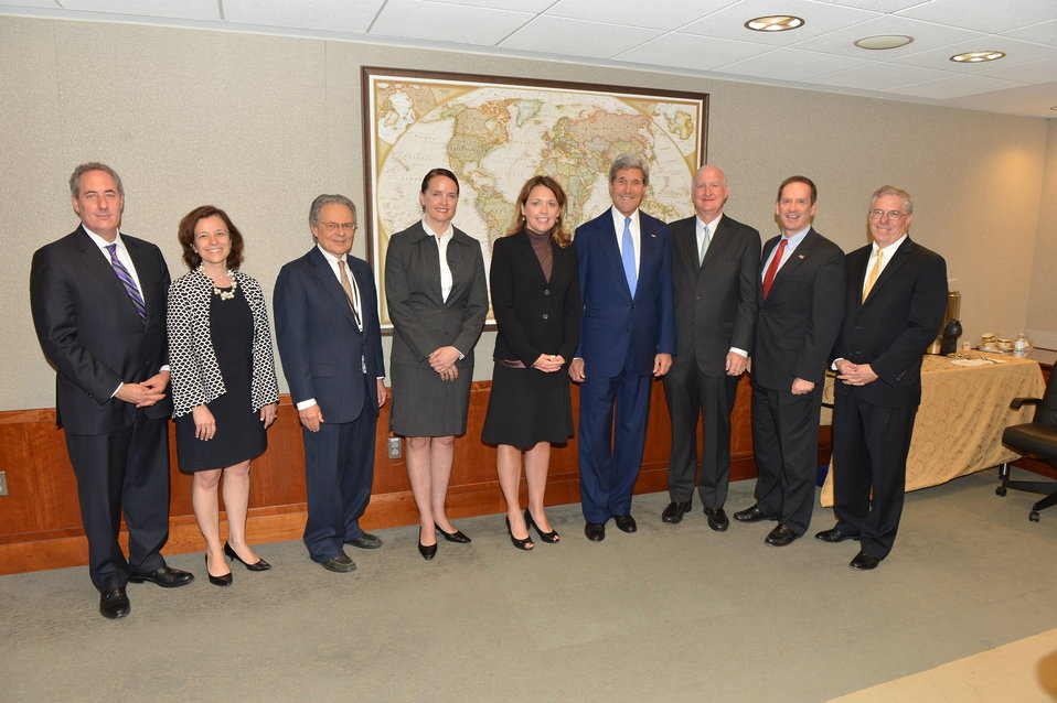Secretary Kerry Poses for a Photo With  the Millennium Challenge Corporation Board Members