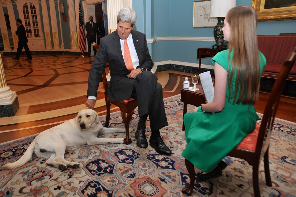 Secretary Kerry and His Dog Ben Sit Down for an Interview With National Geographic Kids Reporter Moore