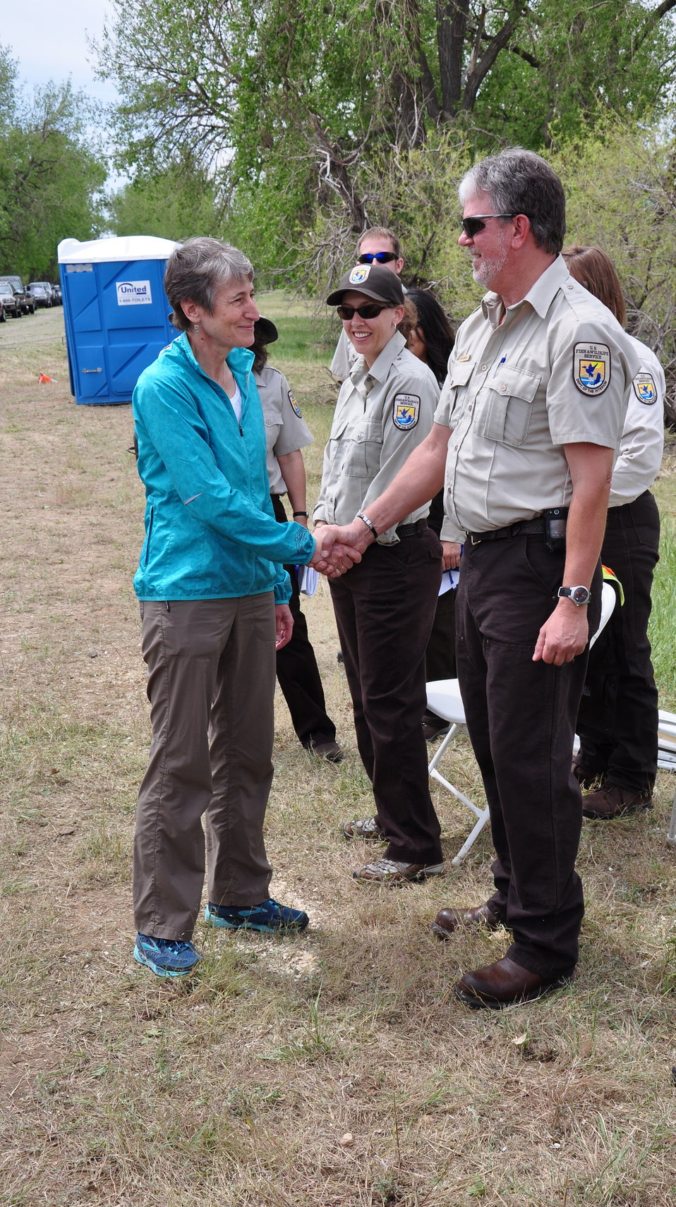 Secretary Jewell Greeting Refuge Staff