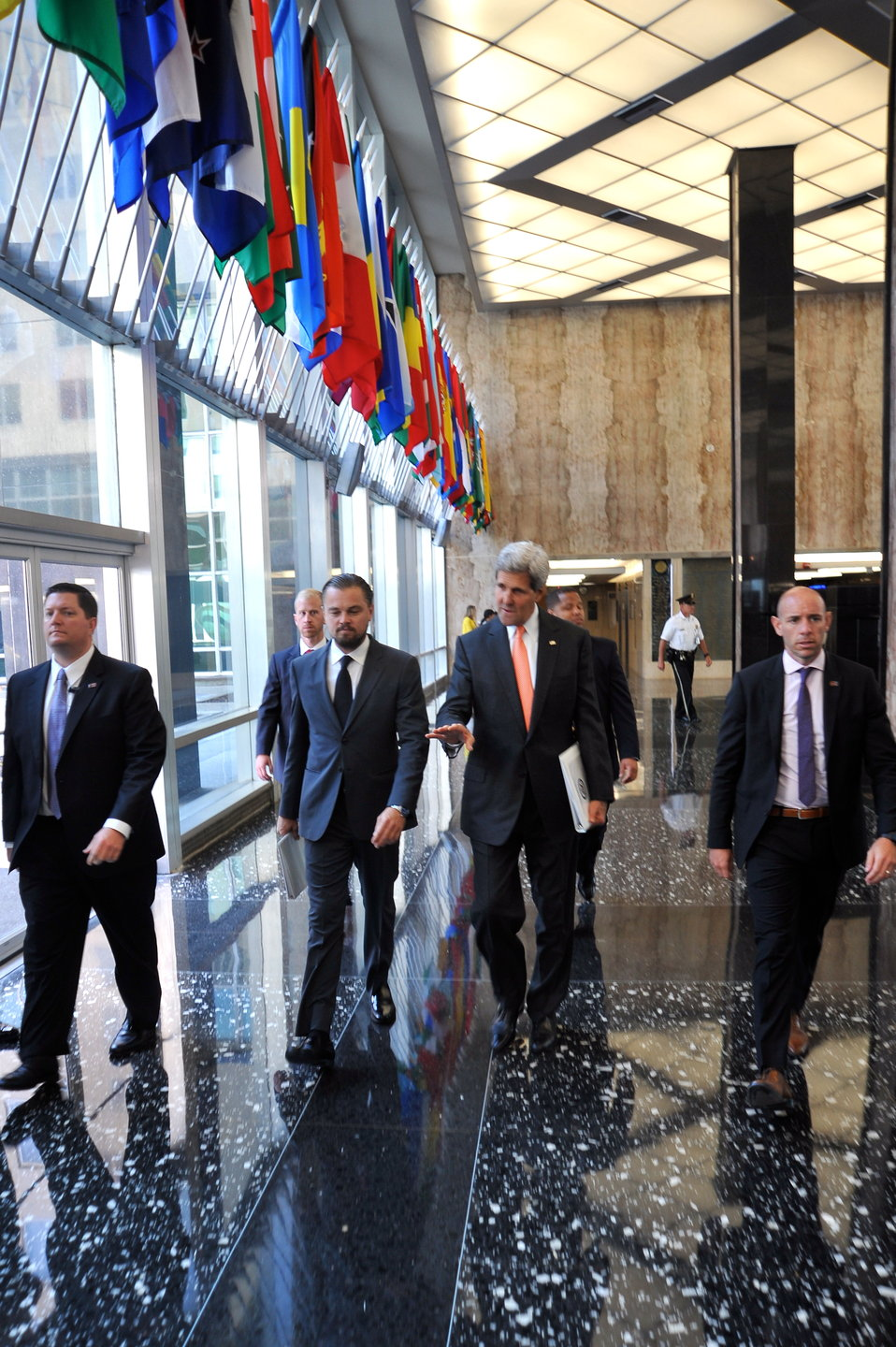 Secretary Kerry Walks With Leonardo DiCaprio in the C Street Lobby of the State Department