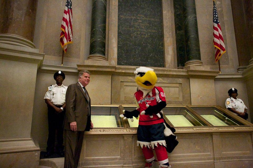 Washington Capitals mascot Slapshot visits the National Archives