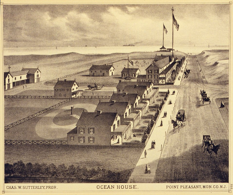 Ocean House, Point Pleasant, Monmouth County, N.J.  P. 355. 'Historical and Biographical Atlas of the New Jersey Coast,' by T. F. Rose, 1878.