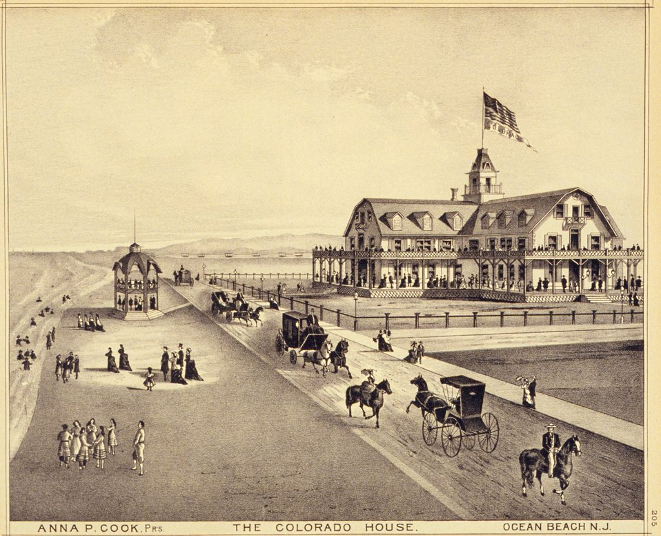 Colorado House, Ocean Beach, New Jersey. P. 205. 'Historical and Biographical Atlas of the New Jersey Coast,' by T. F. Rose, 1878.