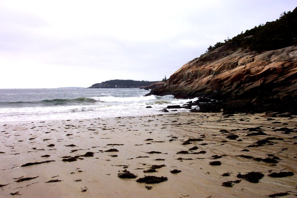 On the western side of Sand Beach looking south towards Thunder Hole area.