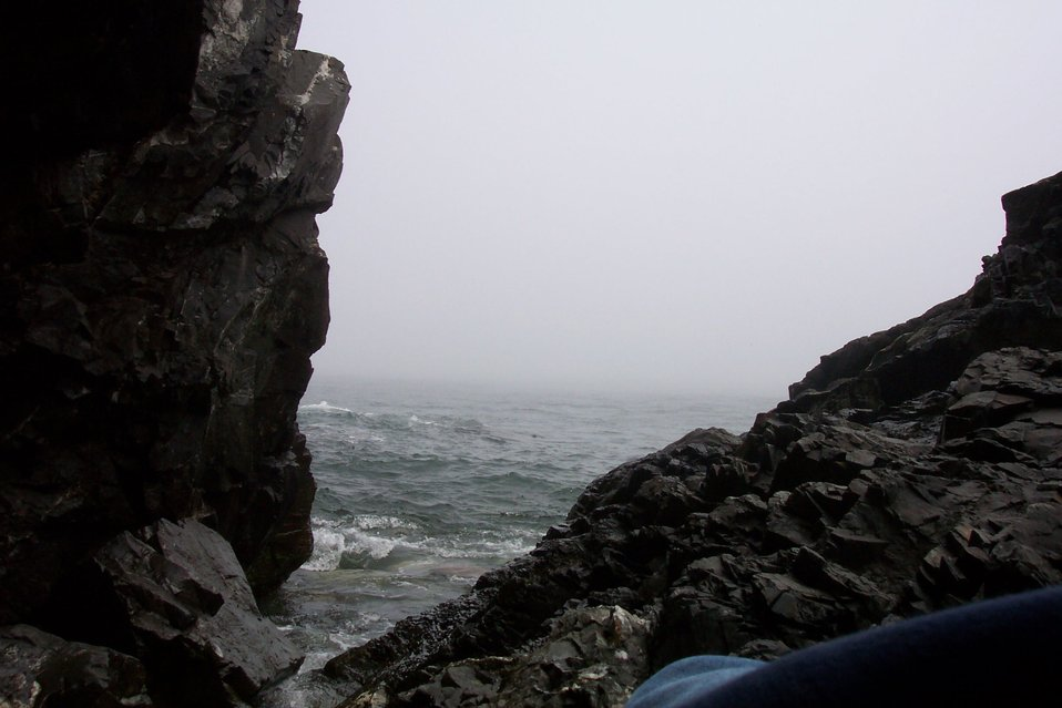 Looking to the sea through a cleft in the rocks at West Quoddy Head.