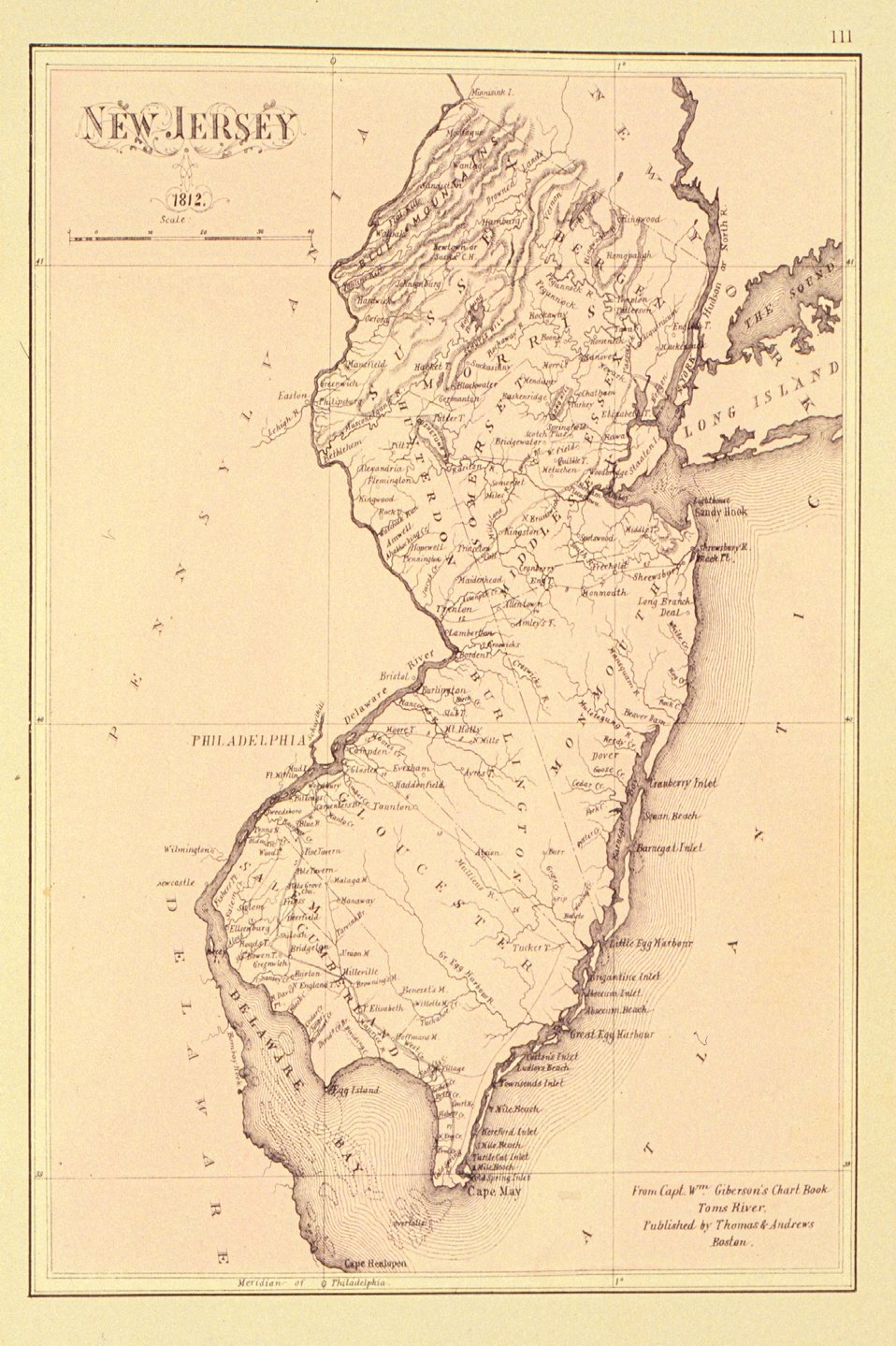 Map of New Jersey dated 1812 in 'Historical and Biographical Atlas of the New Jersey Coast.'