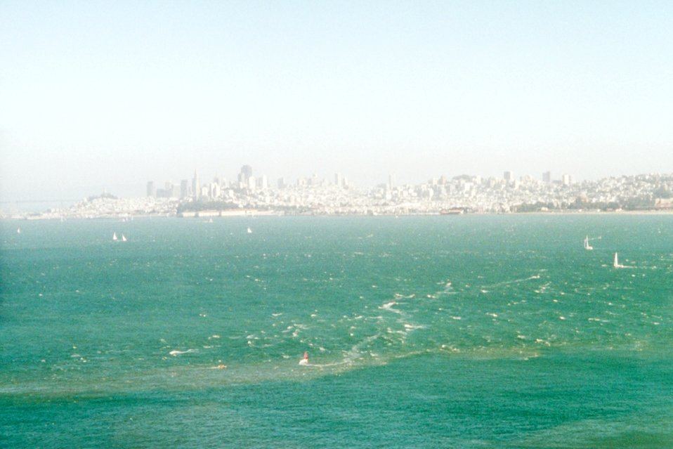 San Francisco Bay tide rips as seen from the Marin side of the Golden Gate.