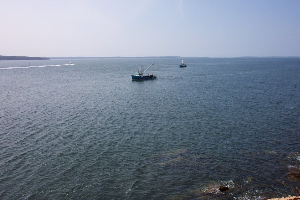 Lobster boats working off of Bass Harbor Head.