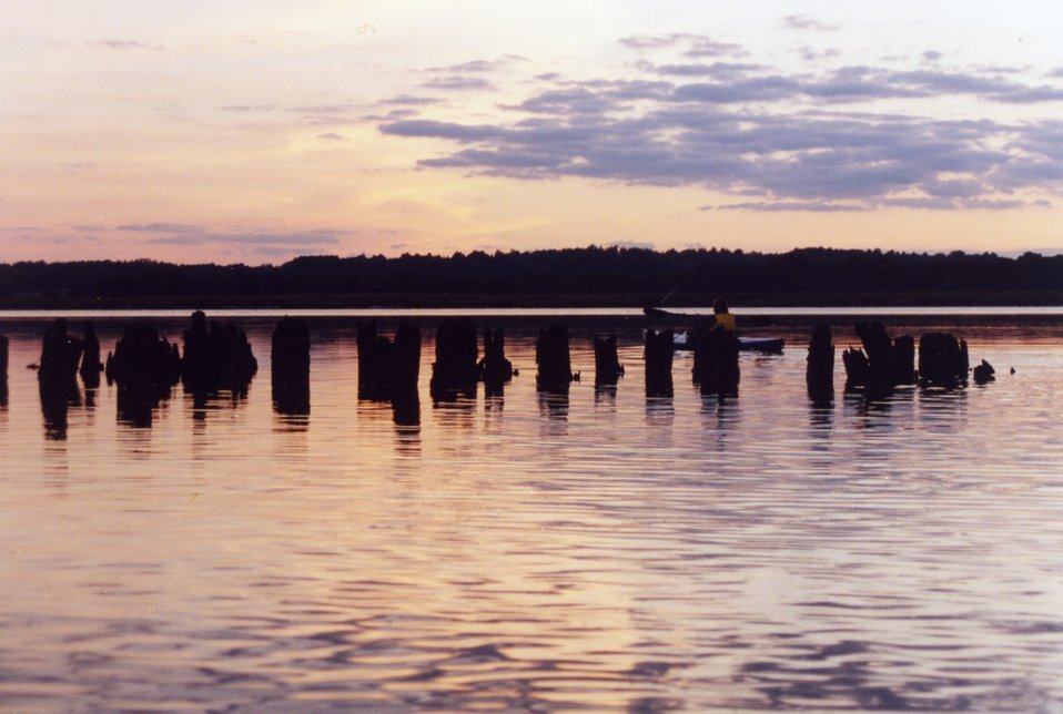 Sunset over the old ferry dock on the Patuxent River.