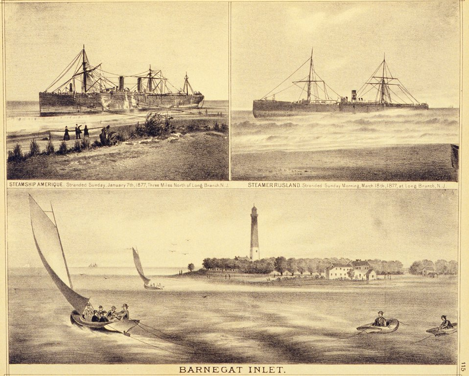 Top:  Two steamers stranded at Long Branch, New Jersey.  Bottom: Barnegat Inlet and lighthouse.  P. 115. 'Historical and Biographical Atlas of the New Jersey Coast,' by T. F. Rose, 1878.