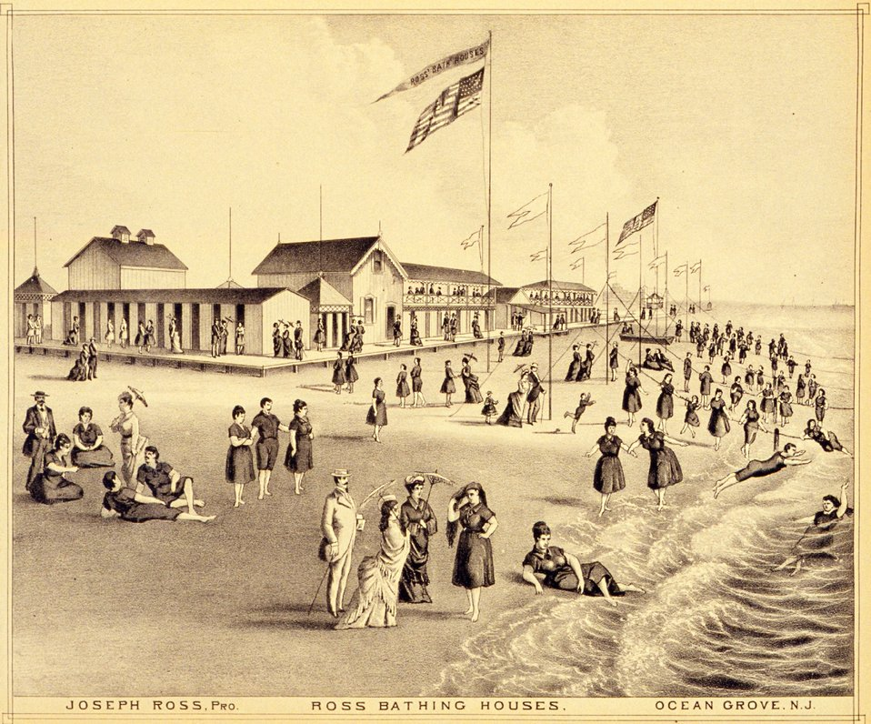 Ross Bathing Houses, Ocean Grove, New Jersey. P. 201. 'Historical and Biographical Atlas of the New Jersey Coast,' by T. F. Rose, 1878.