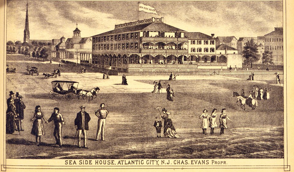 Seaside House, Atlantic City, N.J.  P. 335. 'Historical and Biographical Atlas of the New Jersey Coast,' by T. F. Rose, 1878.