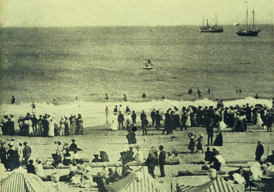 A beach scene at Santa Cruz.  Note the offshore anchored raft. In: 'The City of Santa Cruz and VicinityCalifornia.' Published by The Santa Cruz  Board of Trade.  1905.