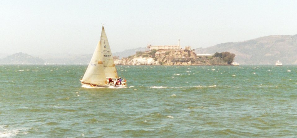 San Francisco Bay sailing.  Alcatraz Prison is in the center right of the photo.