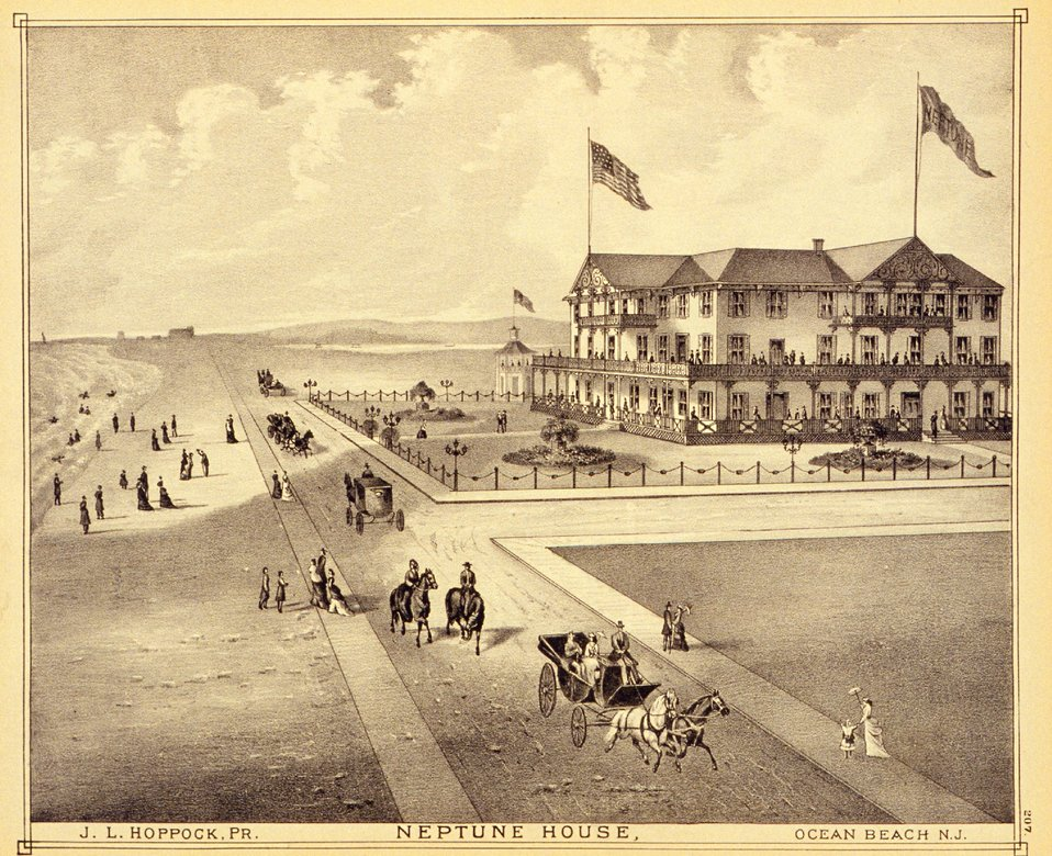 Neptune House, Ocean Beach, New Jersey. P. 207. 'Historical and Biographical Atlas of the New Jersey Coast,' by T. F. Rose, 1878.