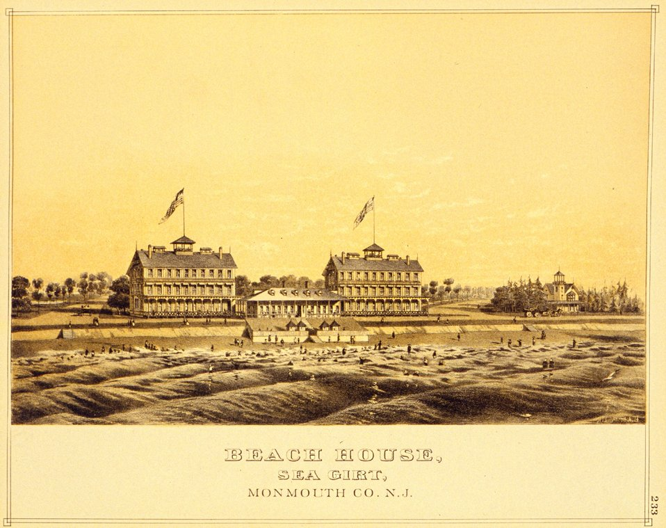 Beach House, Sea Girt, Monmouth County, New Jersey. P. 233. 'Historical and Biographical Atlas of the New Jersey Coast,' by T. F. Rose, 1878.