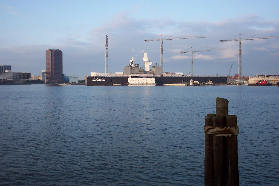 A navy ship in drydock at Norfolk as seen from Portsmouth.