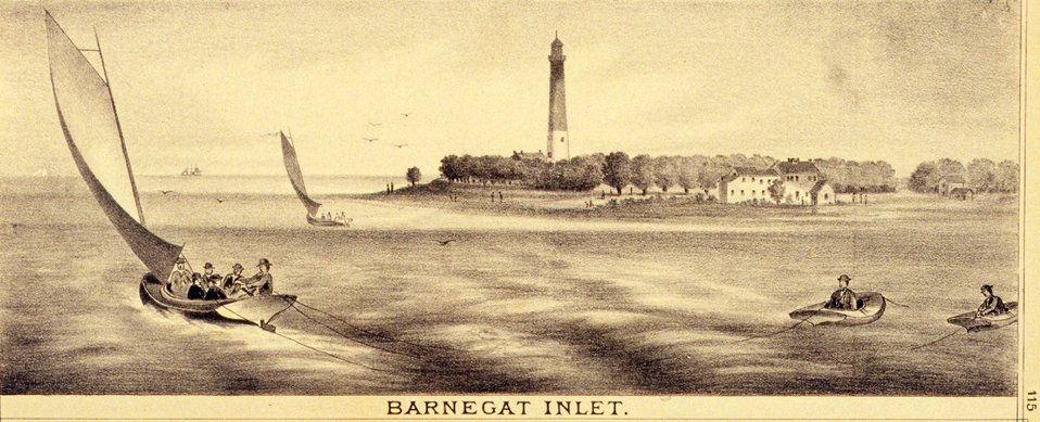 Barnegat Inlet and Lighthouse. P. 115. 'Historical and Biographical Atlas of the New Jersey Coast,' by T. F. Rose, 1878.