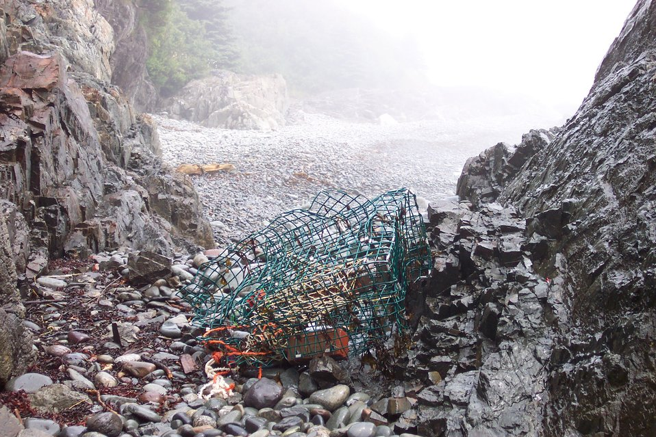 A lobster pot left by the waves at West Quoddy Head.