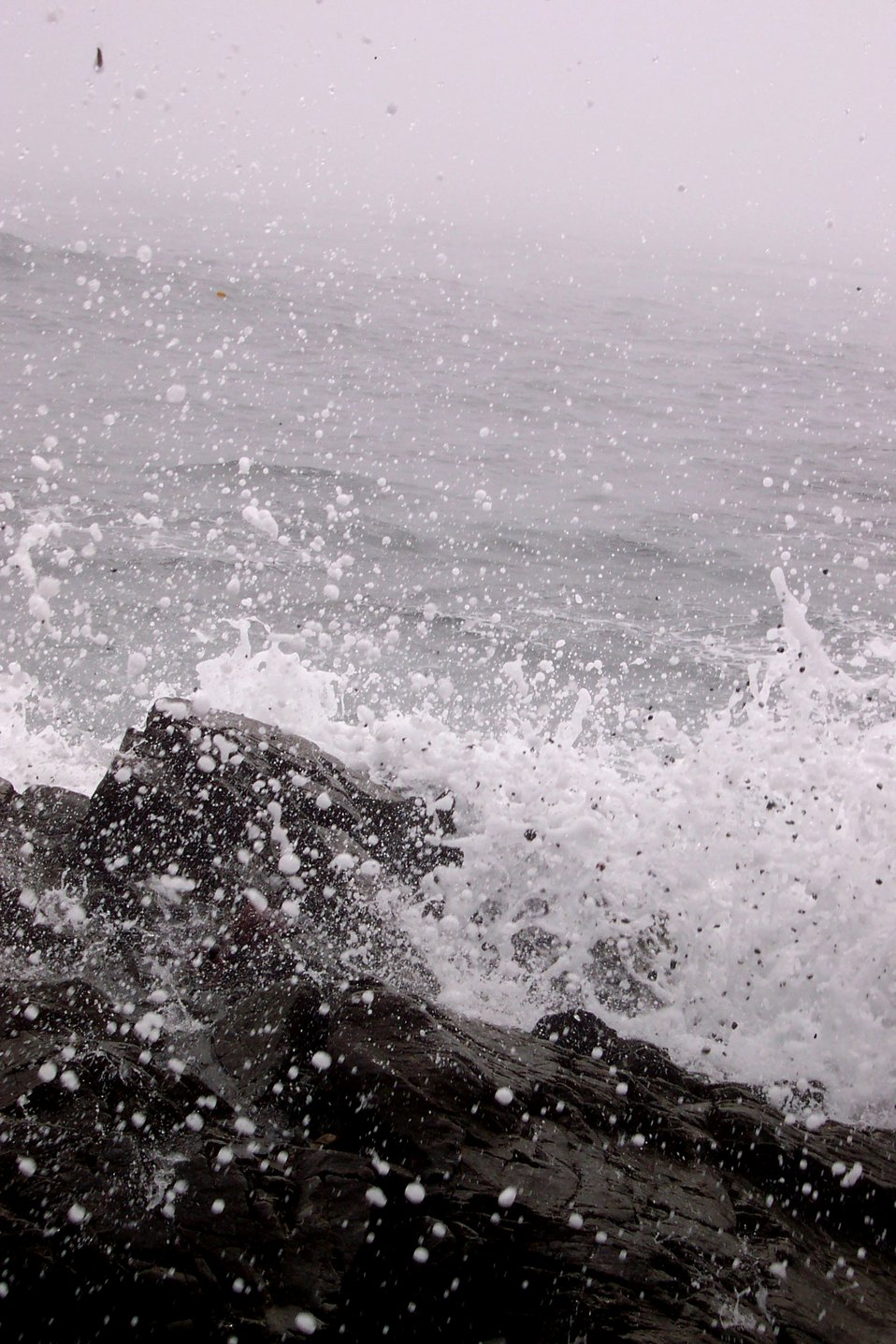 Sea spray and rocks at the eastern end of the United States.