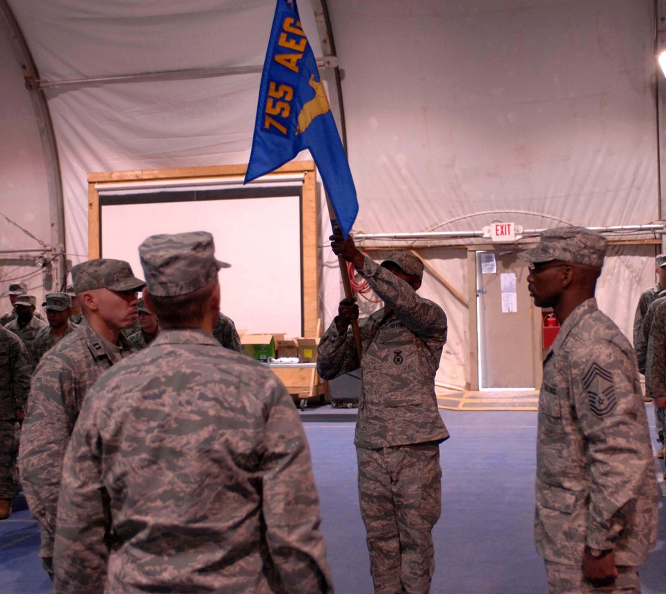 Bagram security forces Airmen pass torch as unit inactivates