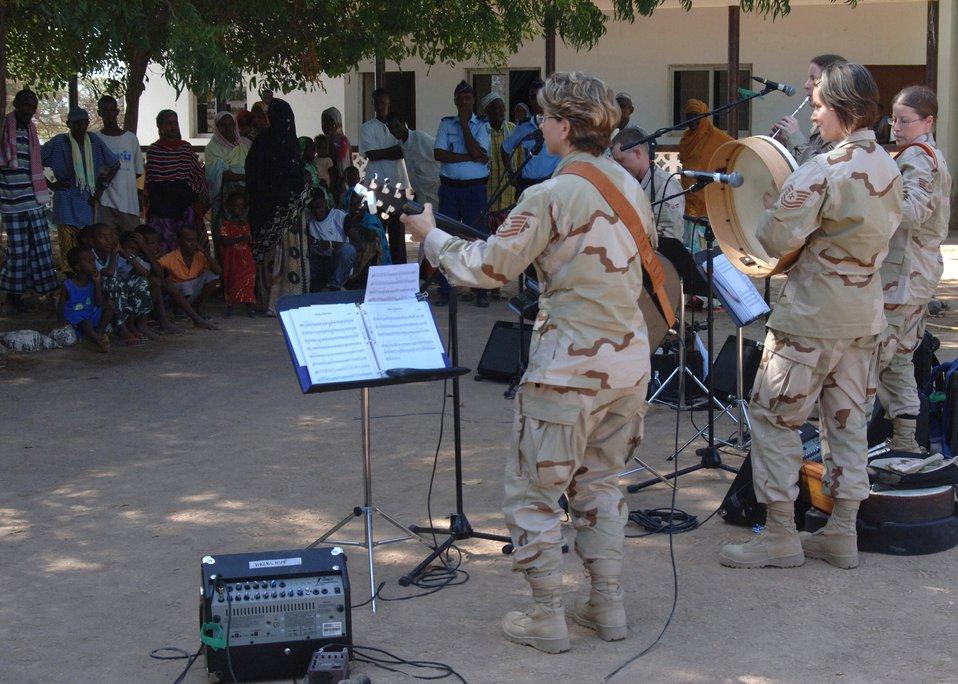 CENTAF band, Marines entertain Damerjog villagers