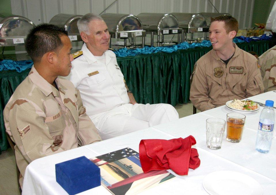 Admiral Fallon visits 380th AEW Airmen