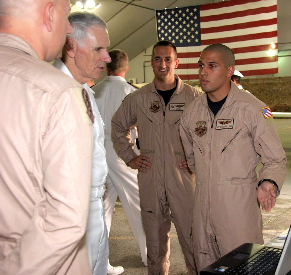 Admiral Fallon visits 380th AEW Airmen