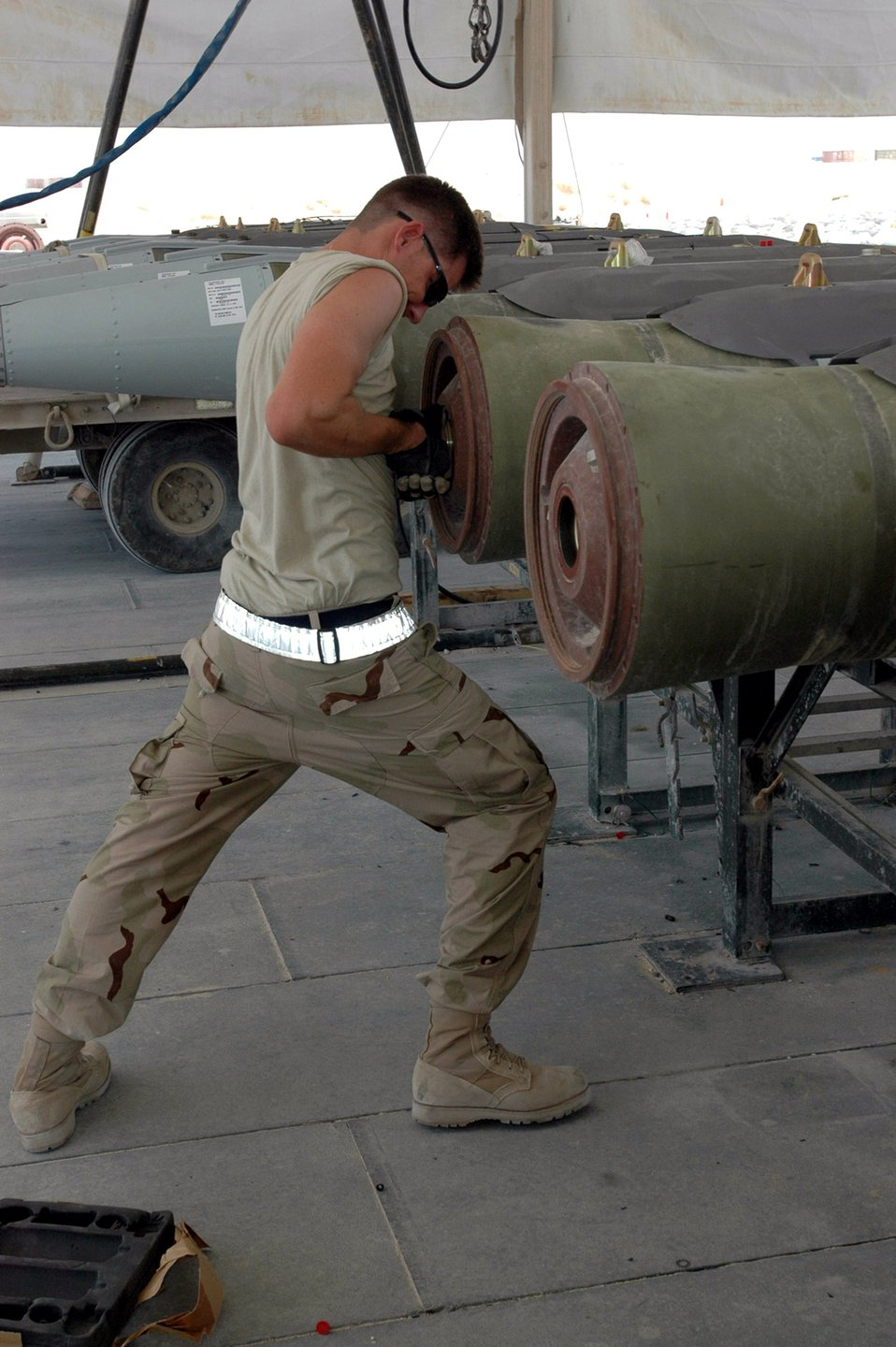 Expeditionary Airmen build bombs