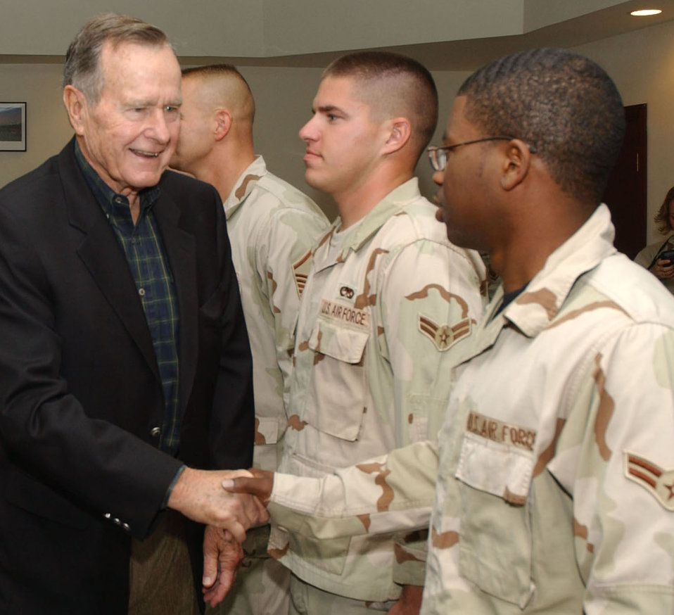 Former president visits deployed troops